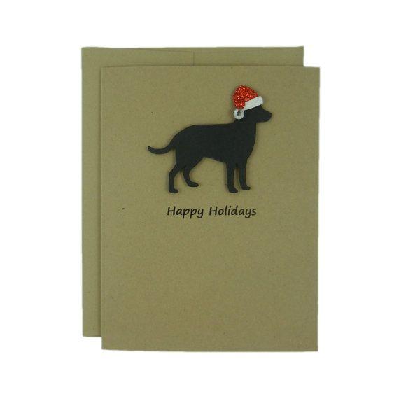 Cartoline di Natale cane - 10 Pack cartoline di Natale - Santa Hat - nero Lab - laboratorio nero Holiday Cards - Kraft Silhouette - cartoline di Natale del cane - cane