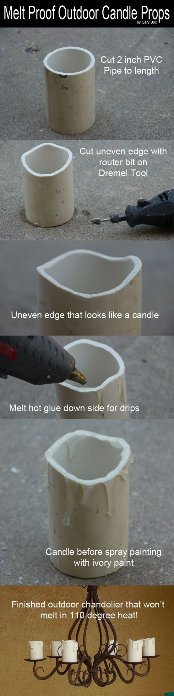 DIY Melt Proof Candle Chandelier - now this is just SO neat! PVC?? who would have ever guessed by just looking at the finished project?!