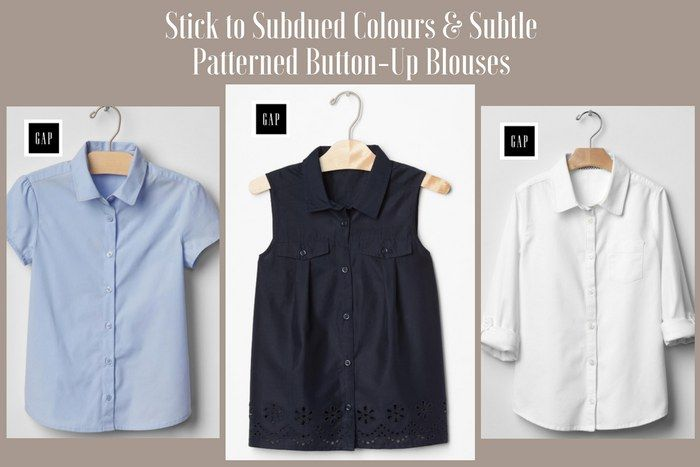 DO: Subdued coloured button-up blouses with subtle patterns are appropriate funeral attire for girls. #loveliveson