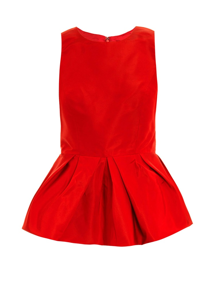 Red Taffeta-silk peplum top so pretty ..can dress up or pair with white jeans :)