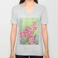 Unisex V-Neck featuring Red Orchid by Ewally