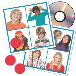 LOTO SONORE DES EMOTIONS, Retrouvez les 12 émotions mises en photographie sur les différents cartons de jeu en écoutant les extraits sonores du CD audio. Est-ce un enfant qui pleure ou qui rit ? Est-il triste ou content ?