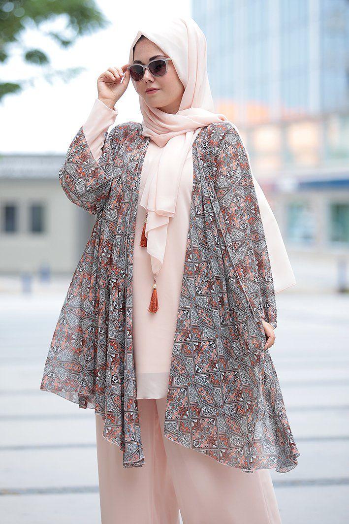Tesettur Abiye Elbise Tunik Modelleri Nesrin Emniyetli Etnik Desen Somon Sifon 3 Lu Takim Kadin Kiyafetleri Moda Stilleri Elbise