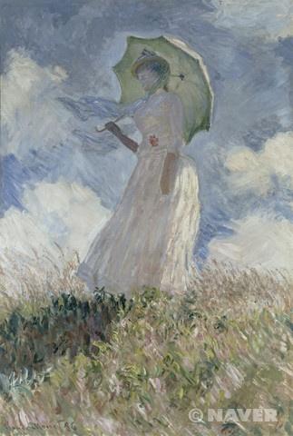 야외에서 인물 그리기 습작 : 양산을 쓰고 왼쪽으로 몸을 돌린 여인 (Essai de figure en plein air : femme à l'ombrelle tournée vers la gauche)
