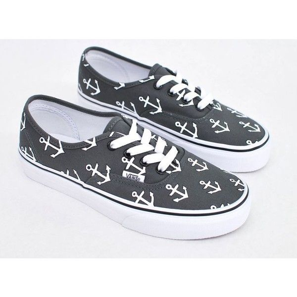Custom Hand Painted Sailor Nautical Theme Anchor Pattern Charcoal Vans... ❤ liked on Polyvore featuring shoes, sneakers, print shoes, vans footwear, patterned shoes, lace up sneakers and vans trainers