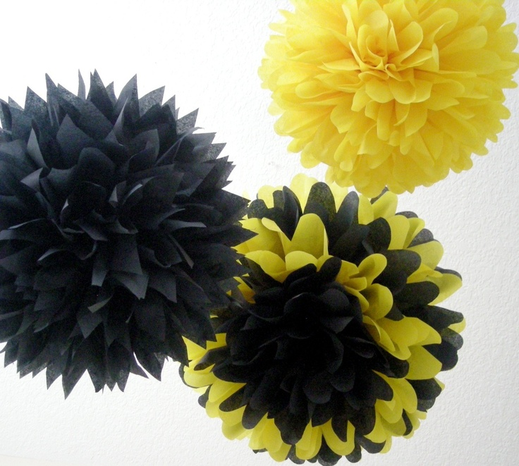 BUMBLE BEE 3 Tissue Paper Poms Bumble Bee Birthday Nursery Decor Party Decorations Yellow And Black Decoration Theme