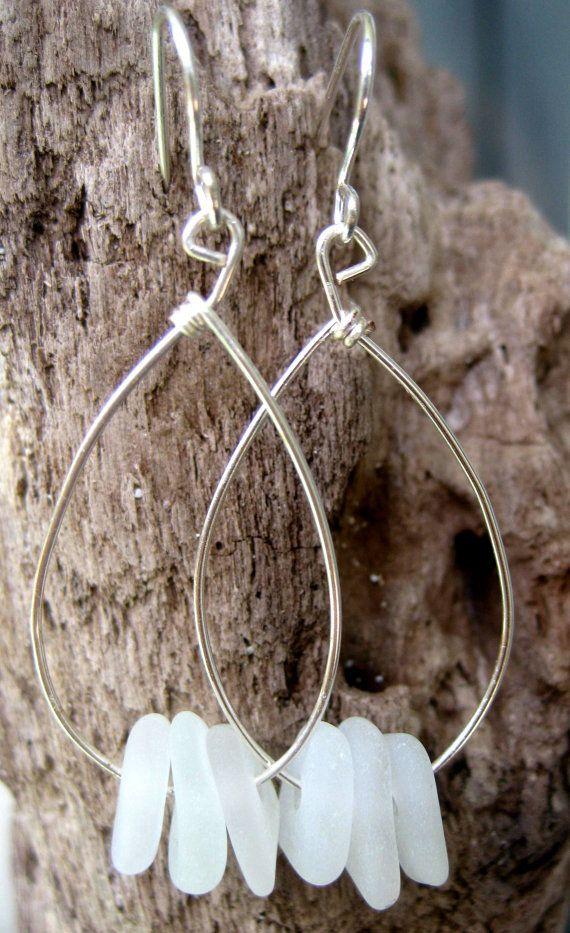 Hawaiian Triple Charm Clear Beach Glass on Silver Plated Teardrop Wire Hoop Earrings. Handmade with Aloha!  $42.00