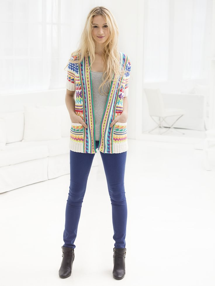 """Breezy Tribal Knit Cardigan Looking at the charts, the finished sizes are more """"normal"""" than indicated! (36"""", 40"""" etc, not 46"""", 50""""...)"""