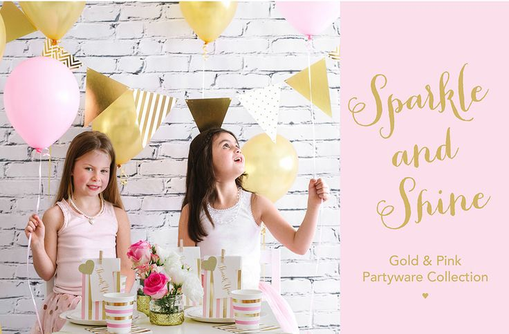 New gold & pink dot & stripe plates, cups, napkins, treat bags, thank you tags & glitter garlands. By Illume Partyware.