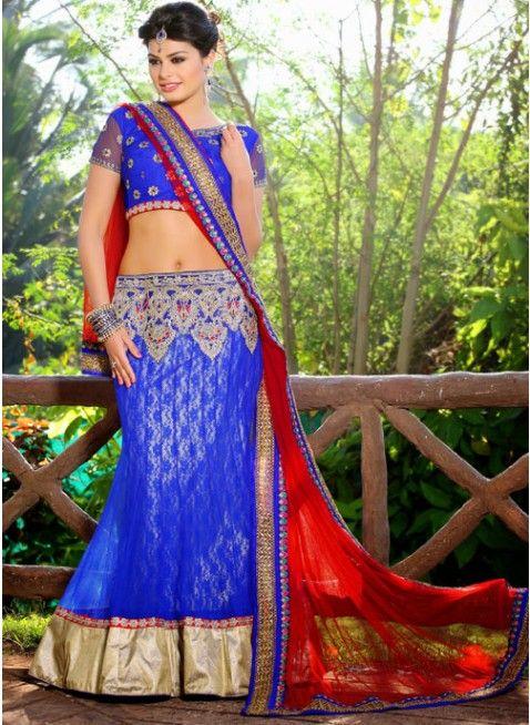 Dazzling Diva Blue Color Net Based #Lehenga #Choli