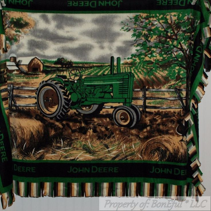 BonEful FABRIC Fleece Blanket Quilt LARGE Throw 48X60 John Deere Farm Tractor NR #JohnDeere #LargeLogo4860ToddlerBabyBunkTwin