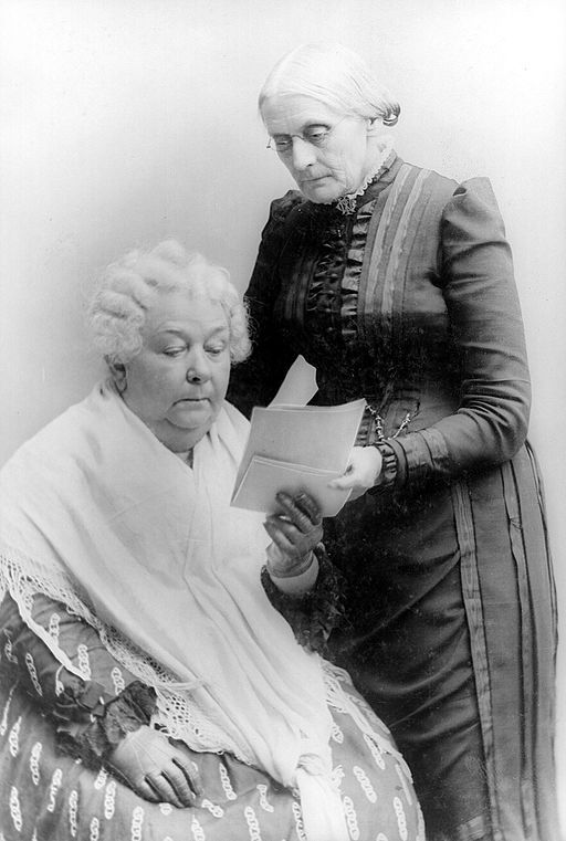 "Elizabeth Cady Stanton and Susan B. Anthony. ""I do pray … for some terrific shock to startle the women of this nation into a self‑respect which will compel them to see the abject degradation of their present position … which will make them proclaim their allegiance to women first. …Oh, to give them the courage and conscience to speak and act for their own freedom, though they face the scorn and contempt of all the world for doing it!"""