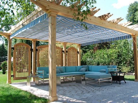Canvas covered pergola... Maybe I can do something like this if I put up a pergola on my patio...
