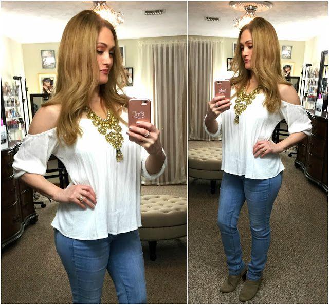 Spring outfit ideas, statement necklace, light blue skinny jeans,  #linkupwithlisa