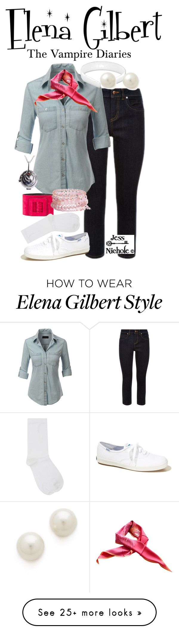"""""""Elena Gilbert"""" by jess-nichole on Polyvore featuring Monsoon, LE3NO, Kenneth Jay Lane, Yves Saint Laurent, Gucci, Hollister Co., David Charles and M&Co"""