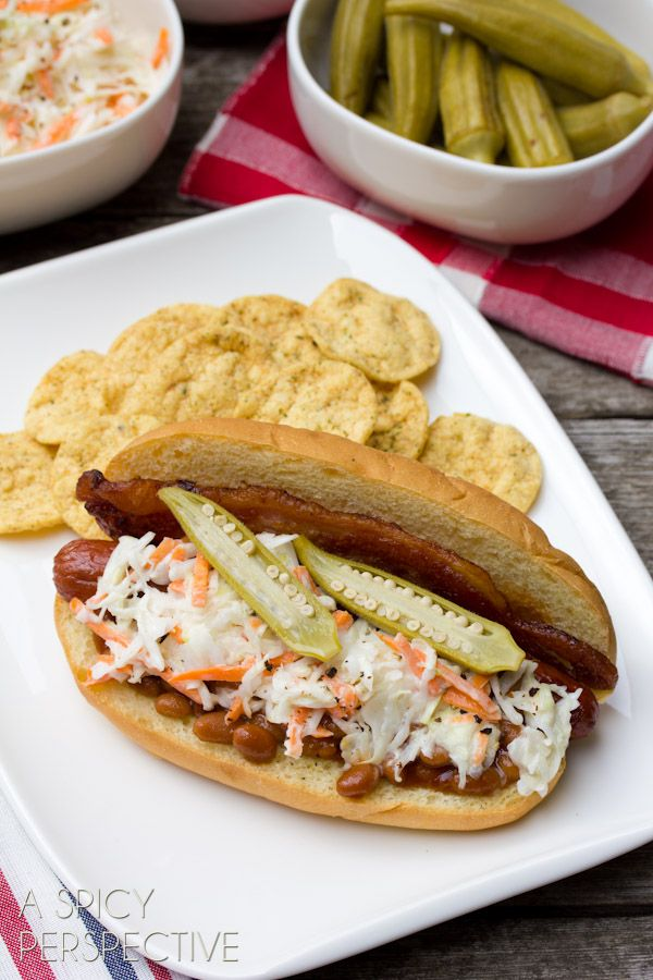 """Southern Comfort"" Hot Dog Recipe with Bacon, Baked Beans, and Slaw 