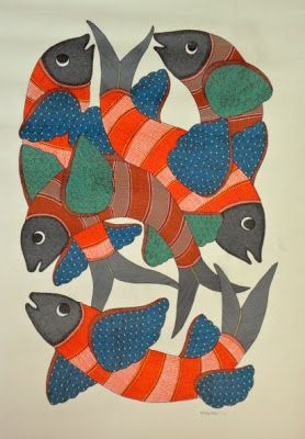 Gond and Bhil Tribal Art: 'Fish' by Rajendra Shyam - Some select works