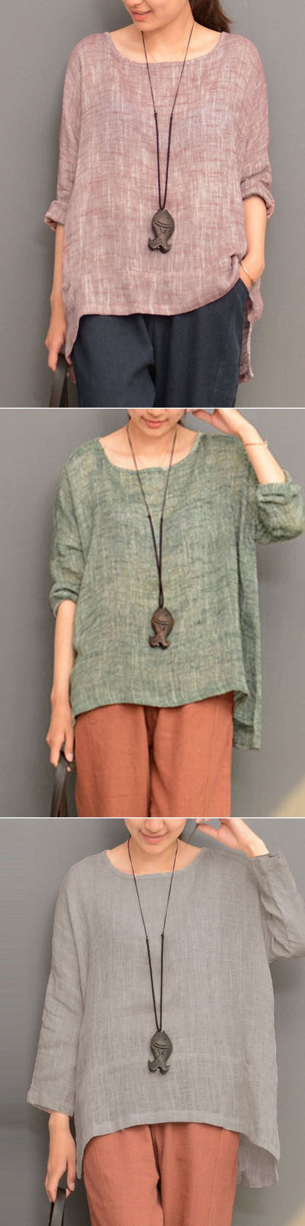 [Newchic Online Shopping] 53%OFF Women Irregular Hem Loose T-shirts with Long Sleeve and  O-neck