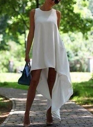 Şifon Kısa Uzun Son Moda Kolsuz Katı Elbiseler