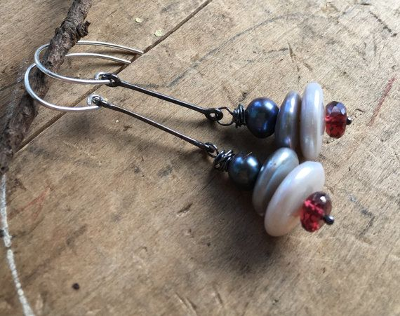 rustic Sterling and garnet earrings, mystic pearl stacked gemstones, oxidized dangles, silver and red jewelry, minimalist earrings