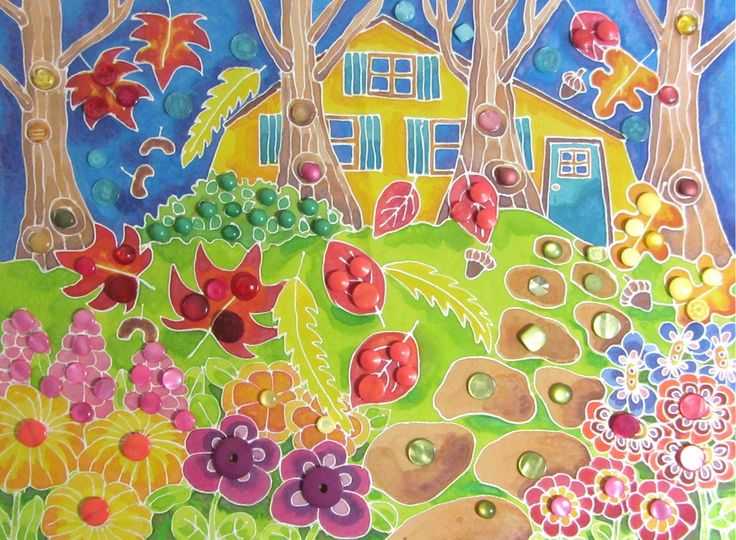 Garden Path - Framed silk painting with shiny buttons. Made for my sister's birthday.