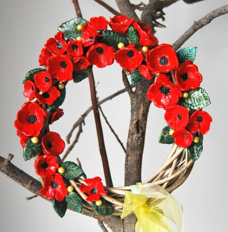 wreath with ceramic flowers 17cm by MarrusCreations on Etsy