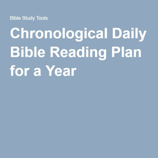 Chronological Daily Bible Reading Plan for a Year