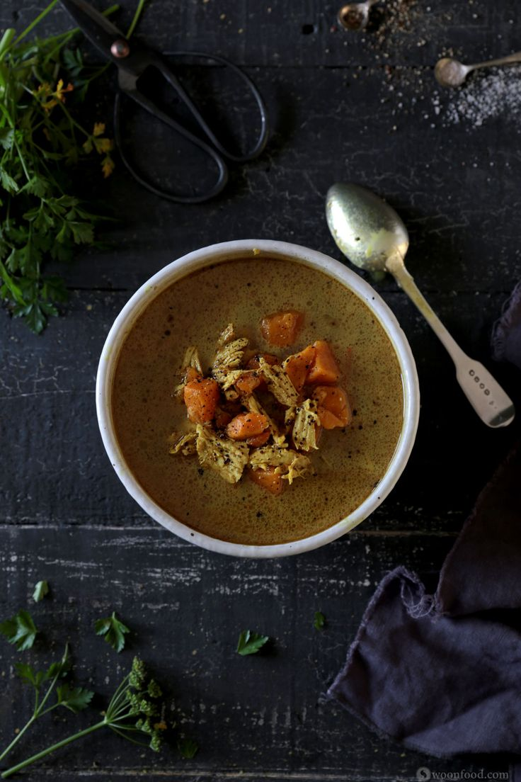 Spiced Coconut and Kumara Soup with Shredded Chicken and Ginger