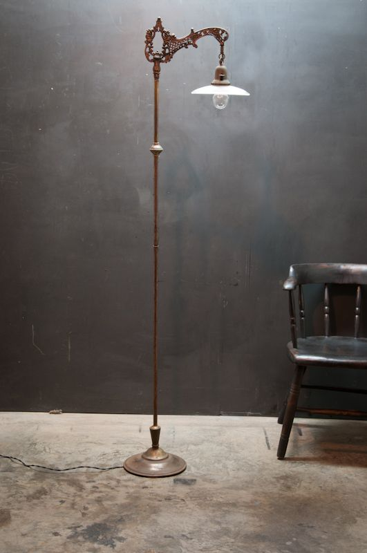 Vintage Linear Holophane Victorian Floor Lamp from Factory 20
