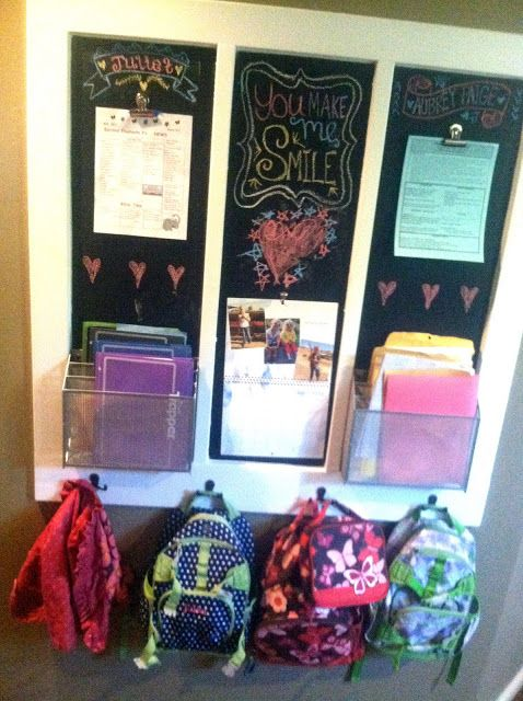 Great idea for staying ORGANIZED when you get home from school!  {How do you organize all the school stuff?}