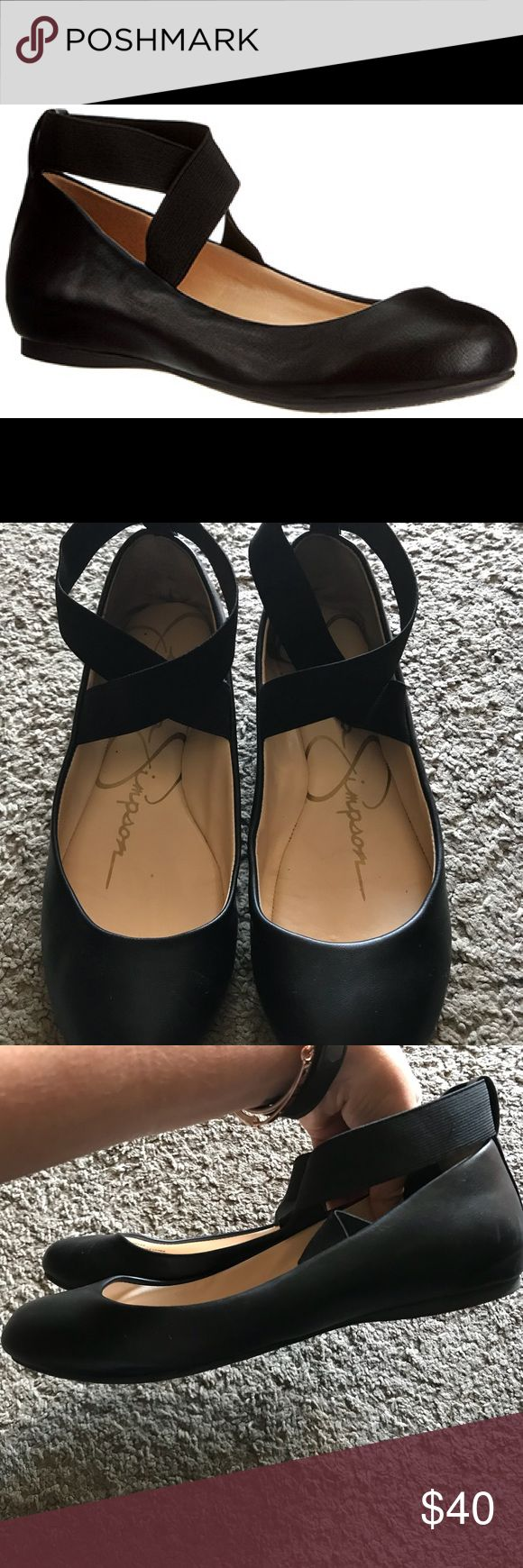 Jessica Simpson ballet flats Classic round toe silhouette, criss-cross ankle strap. Great condition. Jessica Simpson Shoes Flats & Loafers
