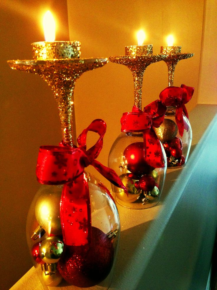 Christmas pin success. Wine glasses, glitter, ornaments, ribbon and glue!