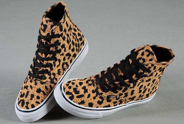 Classic Vans Authentic Leopard Print High Tops Skateboard Yellow Black Canvas Womens Sneakers [J13090801] - $58.00 : The Vans Sk8 High and Half Cab Skate Shoes all on Authentic and Classic Slip-On Vans Checkerboard Skate Shoes Outlet