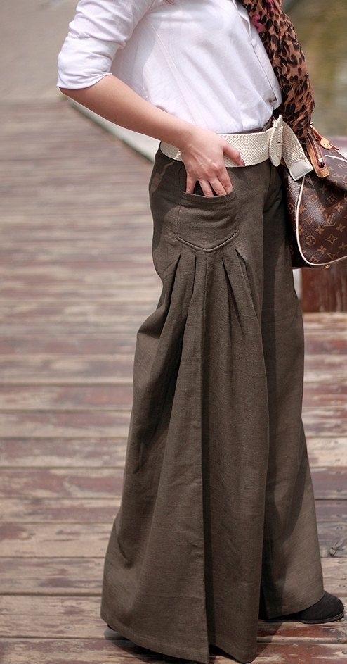 Four Seasons can wear Brown linen Wide leg pants by MaLieb on Etsy: