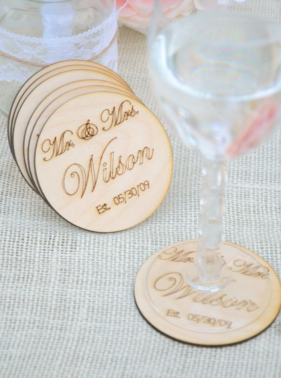 Personalized Mr and Mrs coasters -Set of 6- engraved wooden coasters - gift under 20-