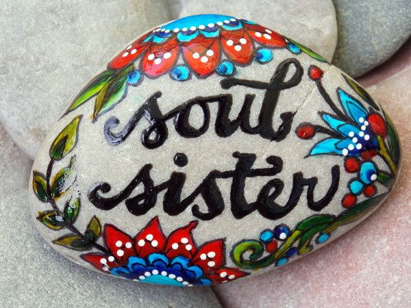 soul sister / painted rocks / painted stones / Sandi Pike Foundas / Cape Cod  / sea stone by LoveFromCapeCod on Etsy