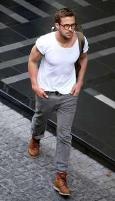 Shop this look for $162: http://lookastic.com/men/looks/white-crew-neck-t-shirt-and-grey-jeans-and-walnut-boots-and-olive-backpack/1146 — White Crew-neck T-shirt — Grey Jeans — Walnut Leather Boots — Olive Backpack Great product...