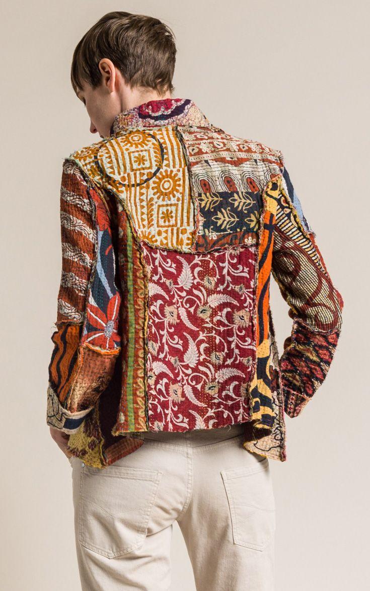 9e6de604b9 $395.00 | Mieko Mintz 4-Layer Vintage Cotton Mandi Jacket in Rust/Cream |  Mieko Mintz creates clothing from vintage saris, which are upcycled into  new ...