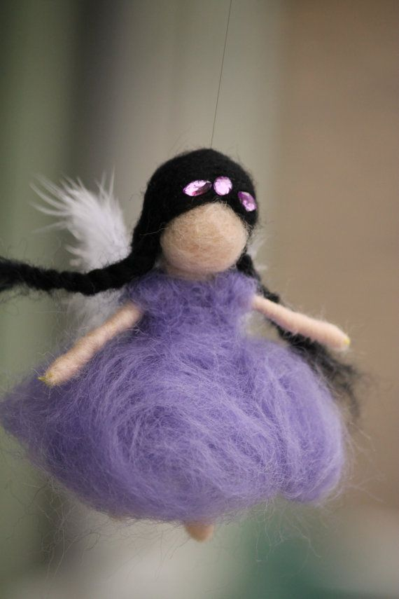 Purple fairy with feather wings Needle felted by JensFeltedJems, $24.00