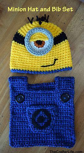 letsjustgethooking : FREE PATTERN  Minion Hat & Bib Set  DISCLAIMER F...