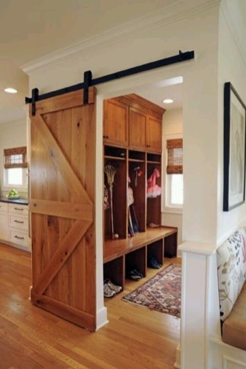 Mud Room Design With Sliding Barn Door. ARizona Does Not Need A Mud Room  But I Like The Barn Door Idea