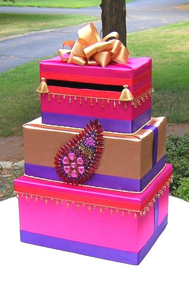 Indian Hindu WEDDING Card Money Box  Beads  PAISLEY MOTIF  Customize. $150.00, via Etsy.