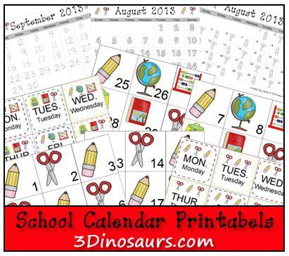 Free Printable School Calendar Set