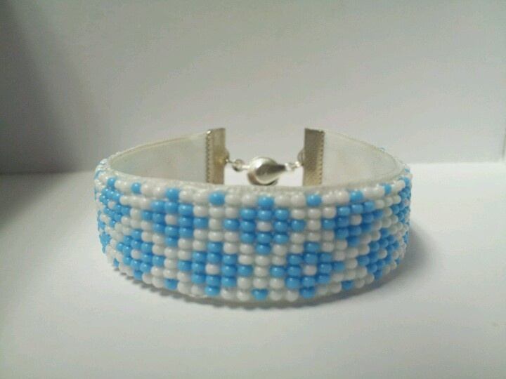 bead loomed on ribbon.