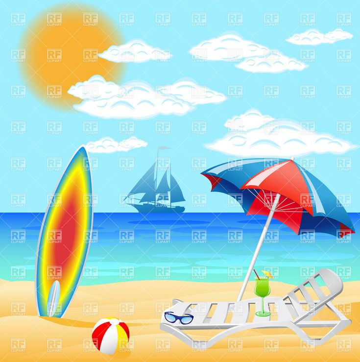 Beautiful Vintage Summer Seaside Illustration Royalty Free: Pics Photos - Summer Vacation