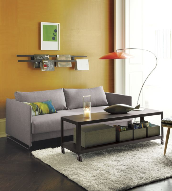 Tandom Grey Sleeper Sofa   CB2. Pull Out To Double Bed With Support Foot  Hidden In Concealed Pocket Nice Touch,   Property + Library + Lounge    Pinterest ...