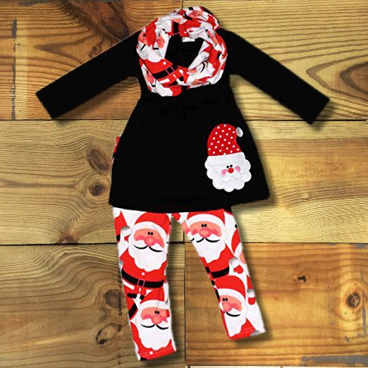 Baby Girl Christmas Outfit, Santa Scarf Set, Monogram, Toddler Girl Outfit Boutique Outfit Kids Clothing Cute Girl Holiday Clothes by MoxieGirlBoutique on Etsy