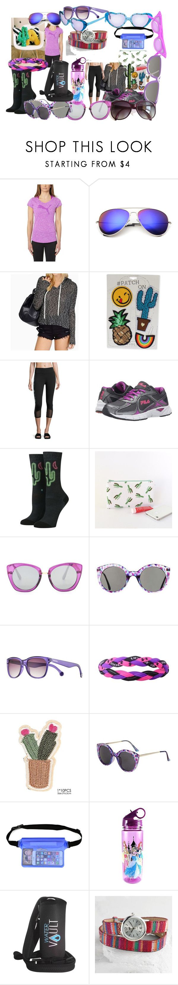 """an AZ run"" by lerp ❤ liked on Polyvore featuring Puma, Viola, Marika, Fila, Stance, Topshop, Converse, Under Armour, Disney and Cost Plus World Market"