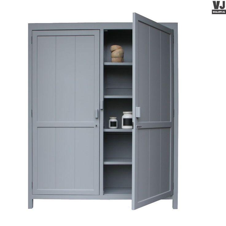 HK living online webwinkel, gratis verzenden HK-living kabinetkast kast XL strak mat grijs by Villa Jipp
