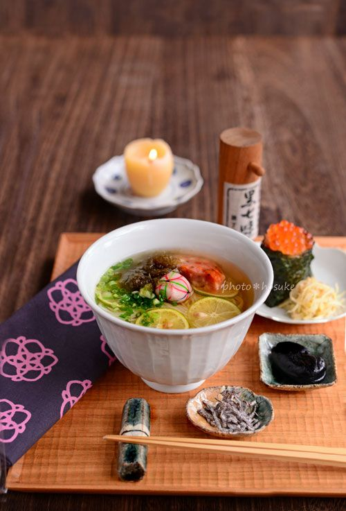 food presentation   酢橘柔麺といくら結び (Sutachibana Yawaramen)